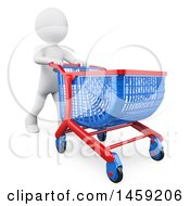 3d White Man Pushing A Shopping Cart On A White Background