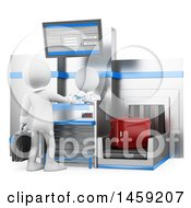 Poster, Art Print Of 3d White Man Checking Baggate At An Airport On A White Background