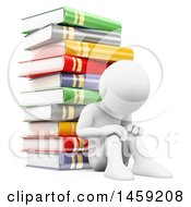 Poster, Art Print Of 3d White Man Pouting Against A Stack Of Books On A White Background