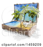 3d White Man Relaxing On A Hammoc On A Tropical Beach In A Suitcase On A White Background