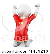 Poster, Art Print Of 3d White Man Soccer Player Jumping On A White Background