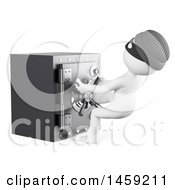 3d White Man Robber Stealing A Safe On A White Background