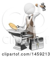 Clipart Of A 3d White Man Minting Coins On A White Background Royalty Free Illustration