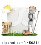 3d White Man With Mountain Gear And A Sign On A White Background