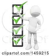 3d White Man With A Check List On A White Background