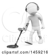 Poster, Art Print Of 3d White Man Using A Metal Detector On A White Background