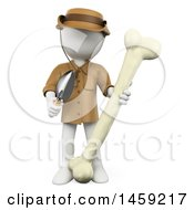 Clipart Of A 3d White Man Archaeologist Or Paleontologist With A Bone On A White Background Royalty Free Illustration