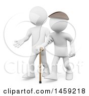 3d White Man Helping A Senior Citizen On A White Background