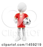Poster, Art Print Of 3d White Man Soccer Player Holding A Ball On A White Background