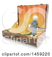 3d White Man With Egyptian Pyramids In A Suitcase On A White Background