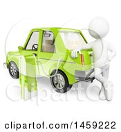 Clipart Of A 3d White Man Charging An Electric Car On A White Background Royalty Free Illustration