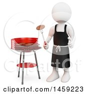 3d White Man Barbequing On A White Background