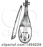 Clipart Of A Sketched Rebec Instrument In Black And White Royalty Free Vector Illustration