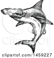 Clipart Of A Sketched Hammerhead Shark In Black And White Royalty Free Vector Illustration