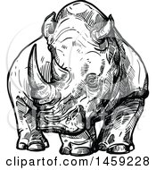 Clipart Of A Sketched Rhino In Black And White Royalty Free Vector Illustration