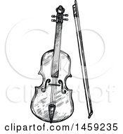 Clipart Of A Sketched Violin Instrument In Black And White Royalty Free Vector Illustration