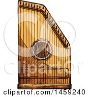 Clipart Of A Sketched Psaltery Instrument Royalty Free Vector Illustration