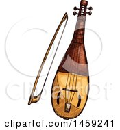 Clipart Of A Sketched Rebec Instrument Royalty Free Vector Illustration