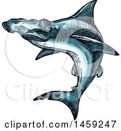 Clipart Of A Sketched Hammerhead Shark Royalty Free Vector Illustration