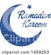 Poster, Art Print Of Blue Ramadan Kareem Design With A Moon And Text