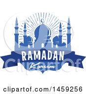 Clipart Of A Blue Ramadan Kareem Design With A Mosque And Text Royalty Free Vector Illustration