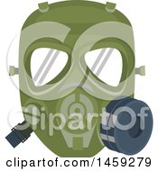 Clipart Of A Military Gas Mask Royalty Free Vector Illustration
