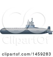 Clipart Of A Military Submarine Royalty Free Vector Illustration