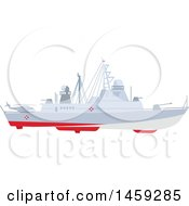 Clipart Of A Military Ship Royalty Free Vector Illustration