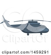 Clipart Of A Military Helicopter Royalty Free Vector Illustration