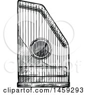 Clipart Of A Sketched Psaltery Instrument In Black And White Royalty Free Vector Illustration
