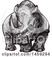 Clipart Of A Sketched Rhino Royalty Free Vector Illustration by Vector Tradition SM