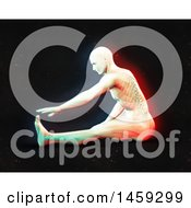 3d Medical Male Figure Stretching With Visible Spine And Dual Color Effect Over Black