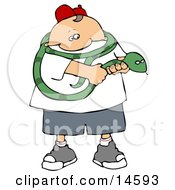 Brave Boy Holding A Long Green Snake That Is Coiled Around His Shoulders