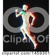Poster, Art Print Of 3d Medical Male Figure Running With Visible Spine In Dual Color Effect Over Black