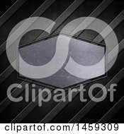 Clipart Of A Scratched Metal Plaque Over Diagonal Stripes Royalty Free Illustration by KJ Pargeter