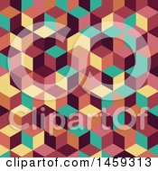 Clipart Of A Retro Cubic Geometric Background Royalty Free Vector Illustration by KJ Pargeter
