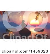 Clipart Of A 3d Silhouetted Woman Doing Yoga On Stones On A Lake Against A Sunset Royalty Free Illustration