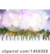 Sparkly Sky Over A Row Of 3d Palm Trees