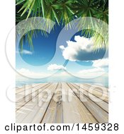 3d Wooden Dock Against A Tropical Ocean With Palm Branches