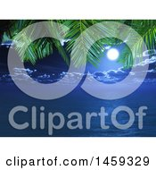 Clipart Of A Night Sky And Ocean Framed By 3d Palm Branches Royalty Free Illustration