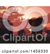 Clipart Of A 3d Red Sunset With Elephants And Rhinos Royalty Free Illustration