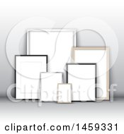 Clipart Of 3d Blank Picture Frames Leaning Against A Wall Royalty Free Vector Illustration