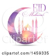 Clipart Of An Eid Mubarak Background With A Geometric Mosque And Text Royalty Free Vector Illustration by KJ Pargeter