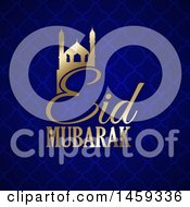 Poster, Art Print Of Eid Mubarak Background With A Gold Mosque And Text