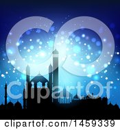 Clipart Of A Silhouetted Mosque Ramadan Kareem Background Royalty Free Vector Illustration by KJ Pargeter