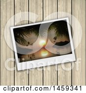 Clipart Of A 3d Bay Polaroid Picture Over Wood Royalty Free Illustration