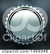 Clipart Of A Brushed Metal Badge Over Perforated Metal Royalty Free Illustration