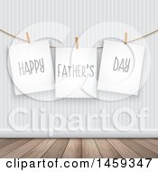 Clipart Of Pinned Signs Reading Happy Fathers Day Against A Wall Royalty Free Vector Illustration by KJ Pargeter