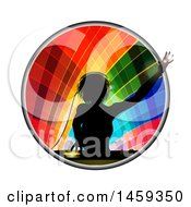 Poster, Art Print Of Silhouetted Female Dj Over A Record Deck In A Colorful Circle