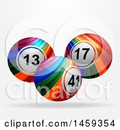 3d Floating Rainbow Striped Bingo Balls On A Shaded Background